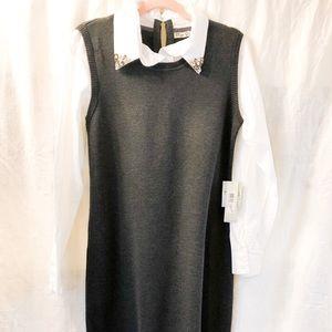 NEW! Embellished Collar Shirt Dress